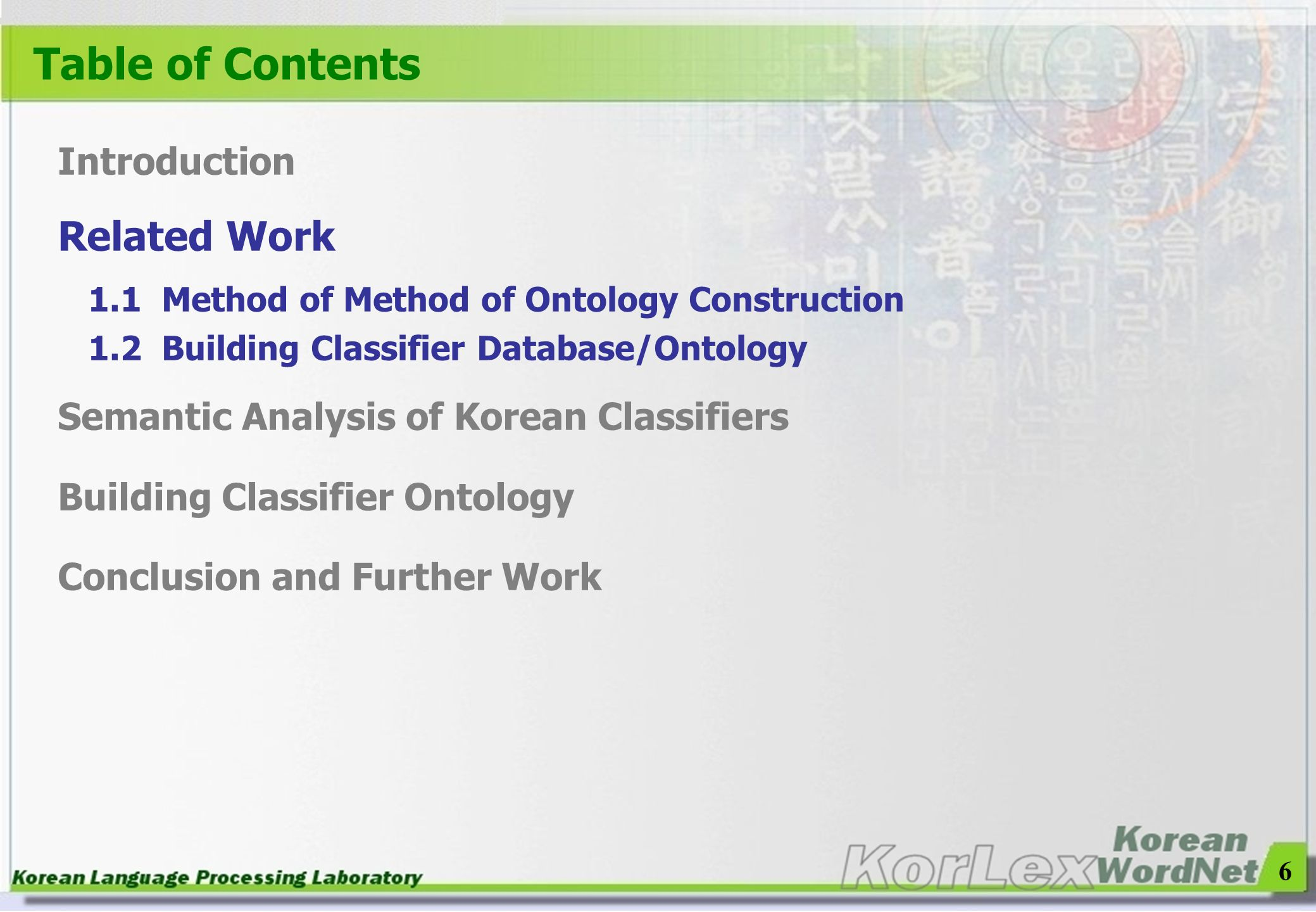 Table of Contents Related Work Introduction