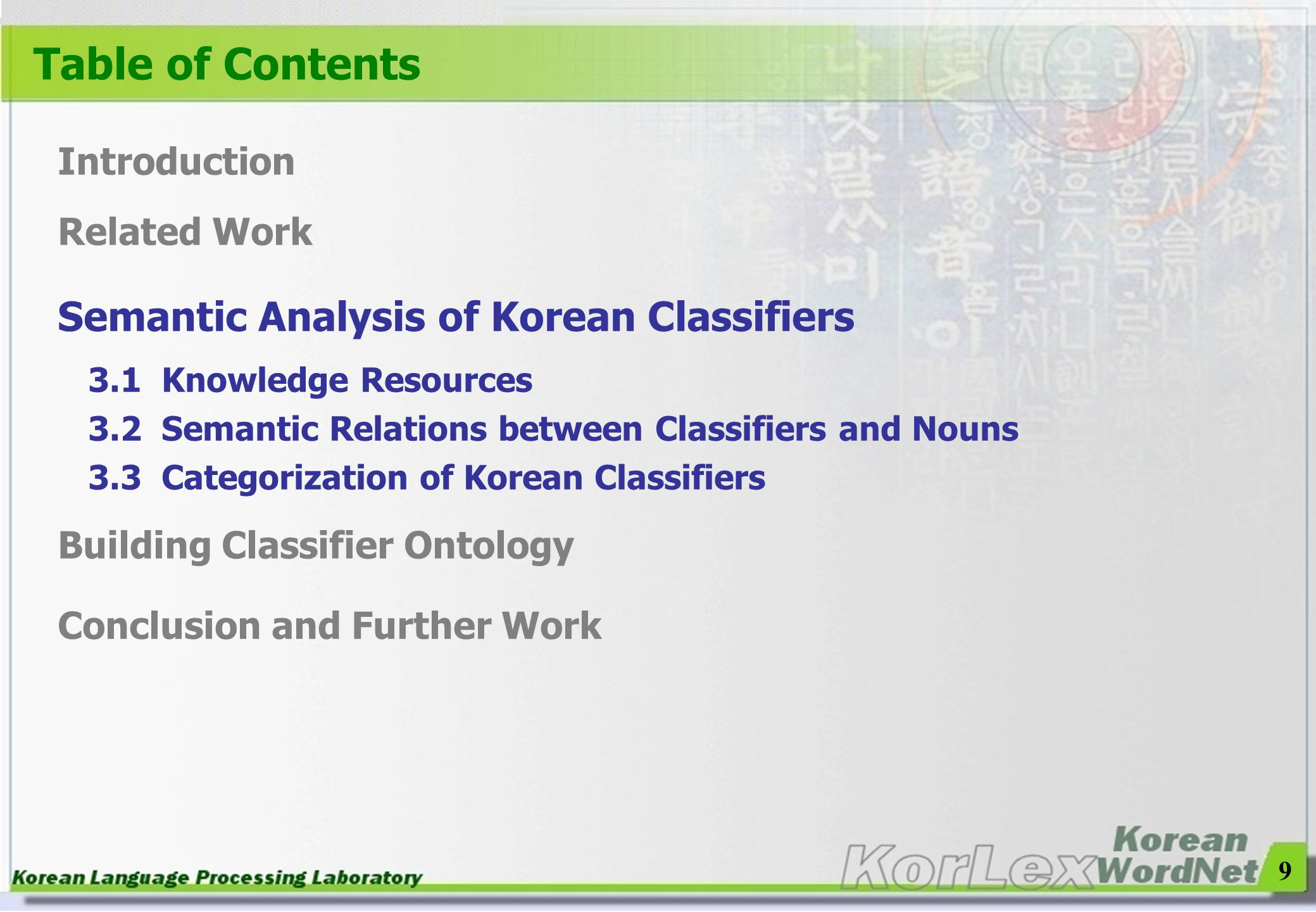 Table of Contents Semantic Analysis of Korean Classifiers Introduction
