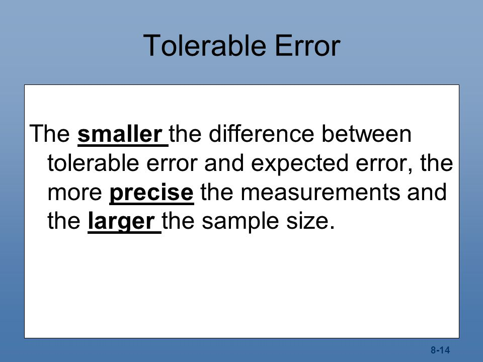 Tolerable Error