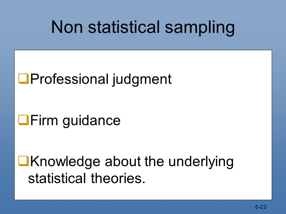 Non statistical sampling