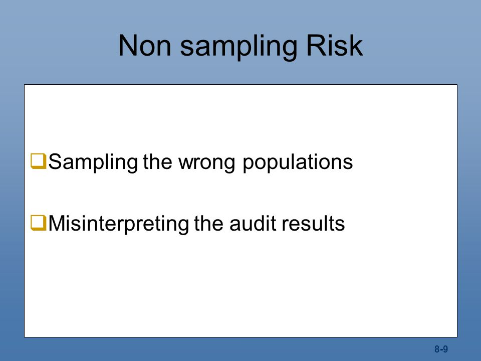 Non sampling Risk Sampling the wrong populations