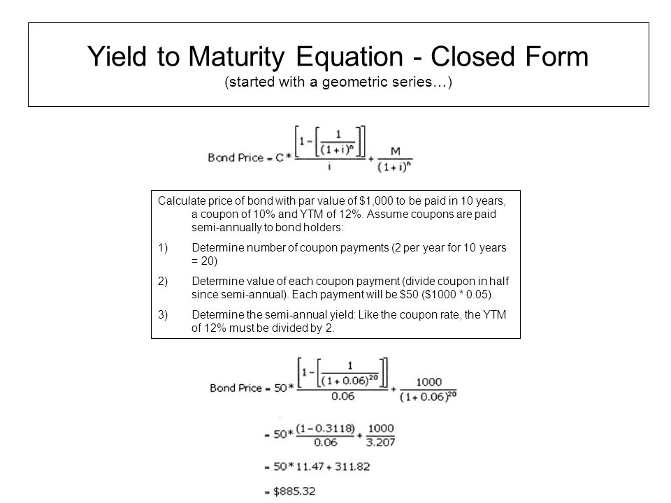 yield to maturity Yield to maturity (ytm) yield to maturity (ytm) is the rate of return expected on a bond which is held till maturity it is essentially the internal rate of return on a bond and it equates the present value of bond future cash flows to its current market price.