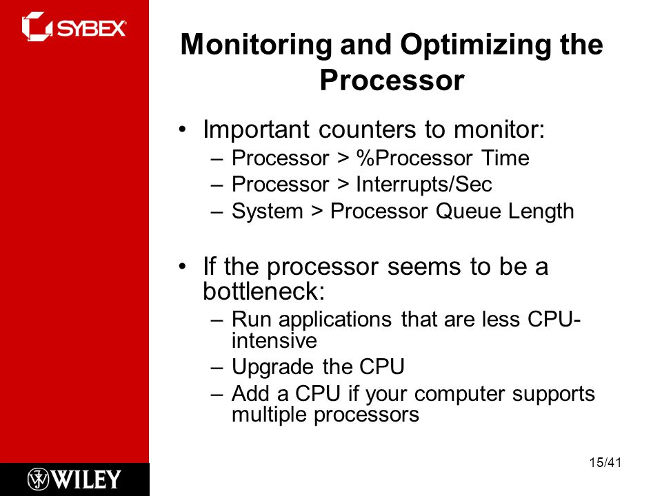 Monitoring and Optimizing the Processor