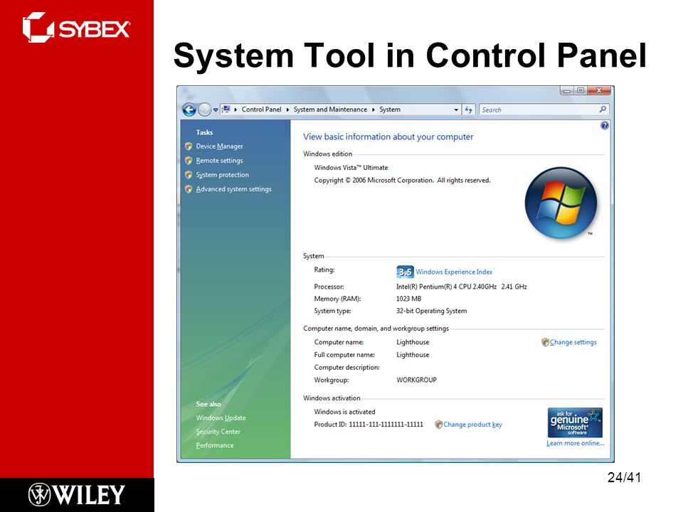 System Tool in Control Panel
