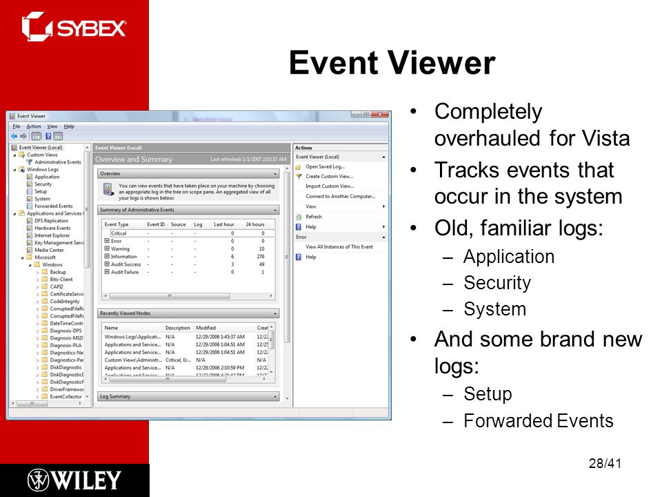 Event Viewer Completely overhauled for Vista