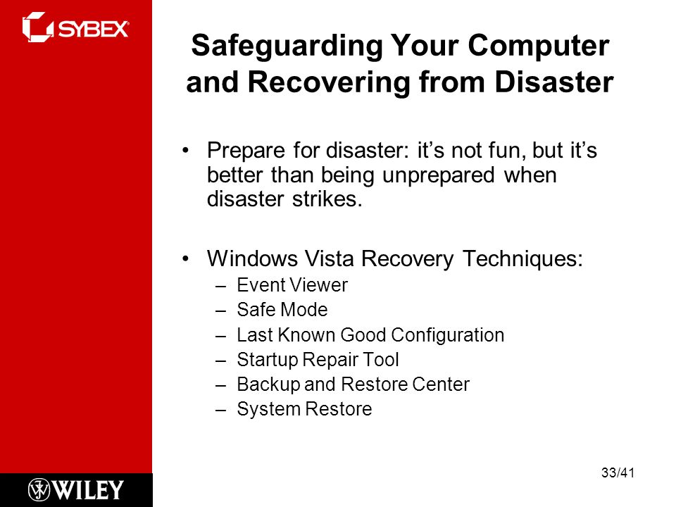 Safeguarding Your Computer and Recovering from Disaster