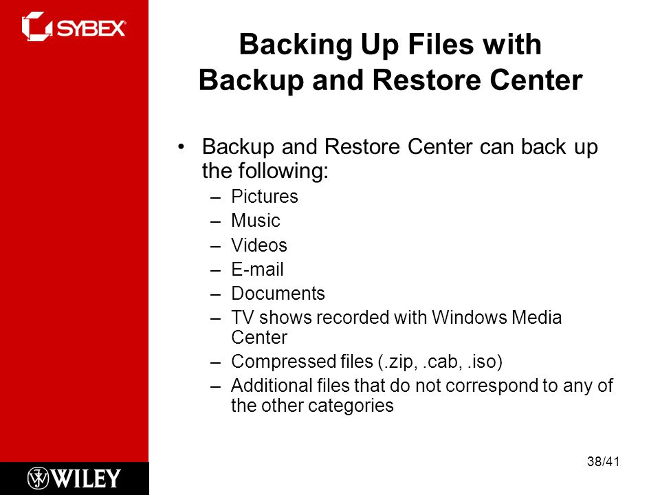 Backing Up Files with Backup and Restore Center