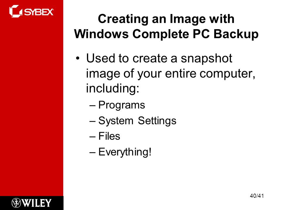 Creating an Image with Windows Complete PC Backup