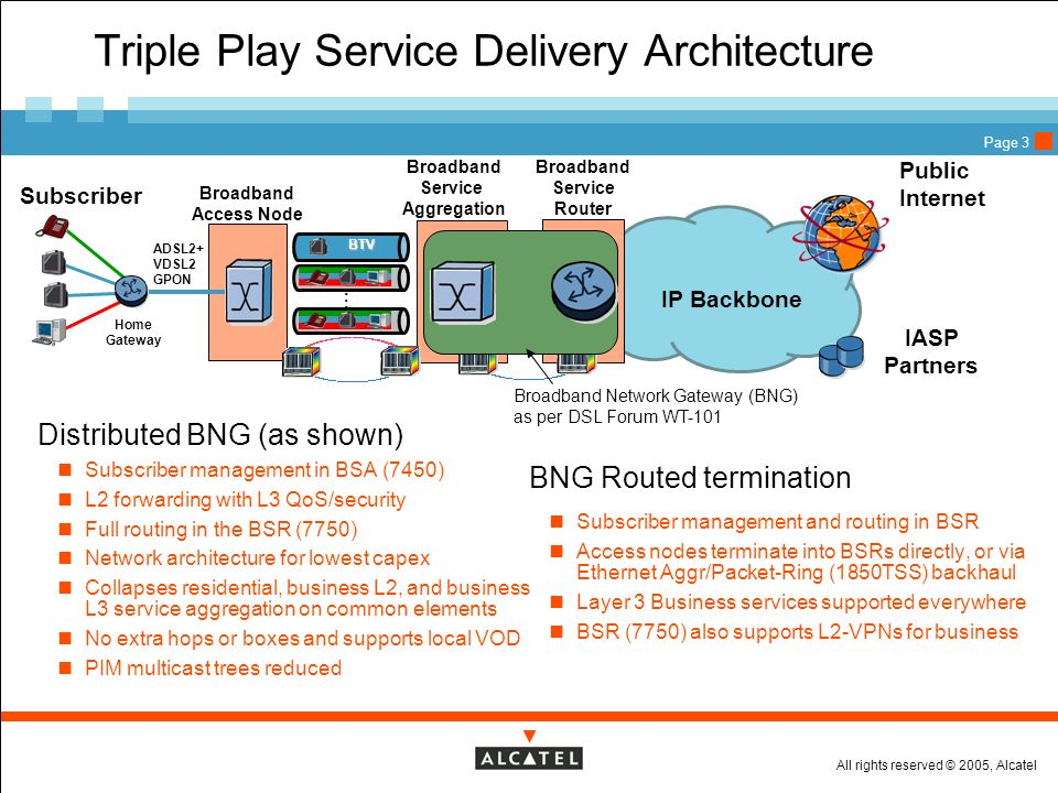 Triple Play Service Delivery Architecture