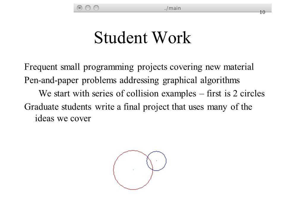 Student Work Frequent small programming projects covering new material