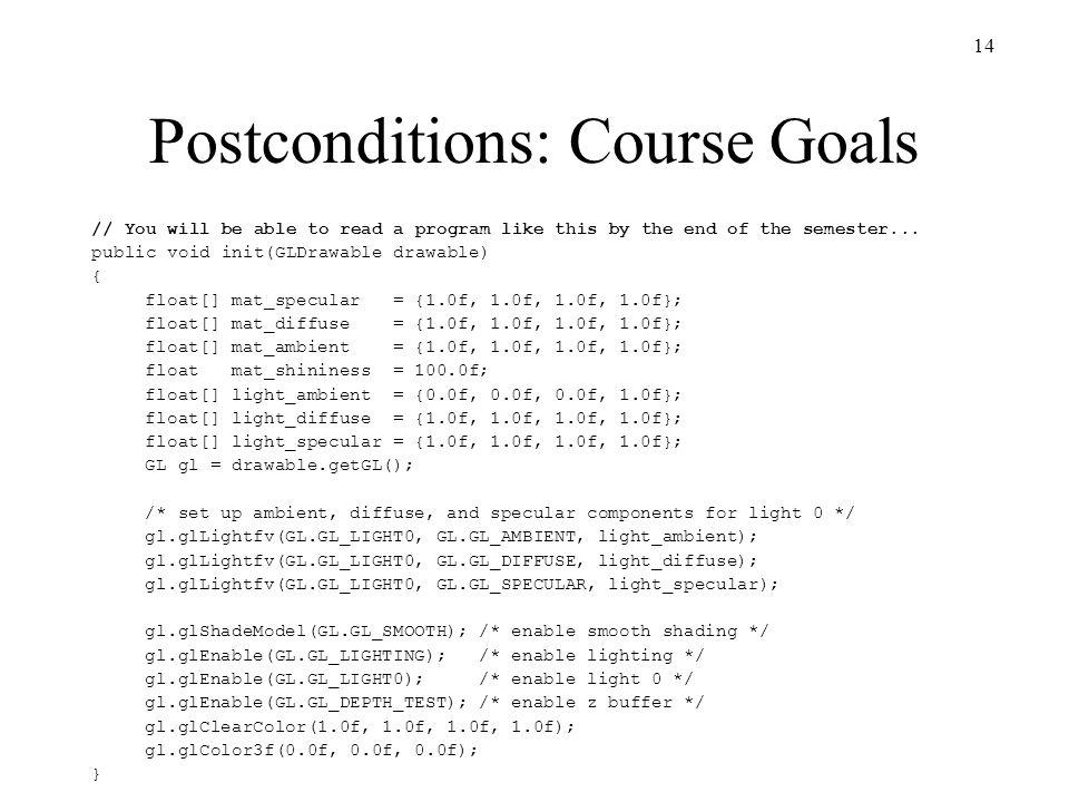 Postconditions: Course Goals