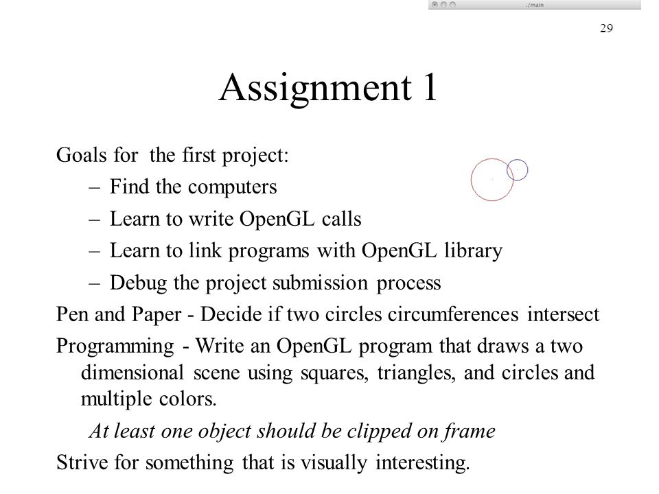 Assignment 1 Goals for the first project: Find the computers