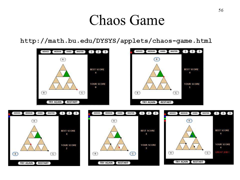 Chaos Game http://math.bu.edu/DYSYS/applets/chaos-game.html