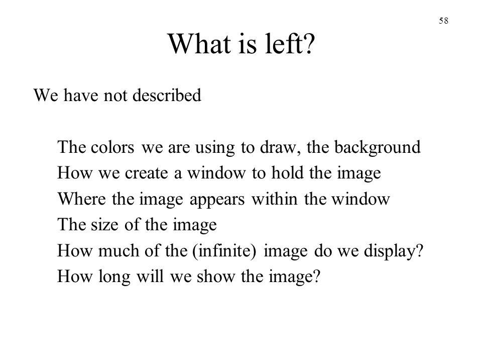 What is left We have not described