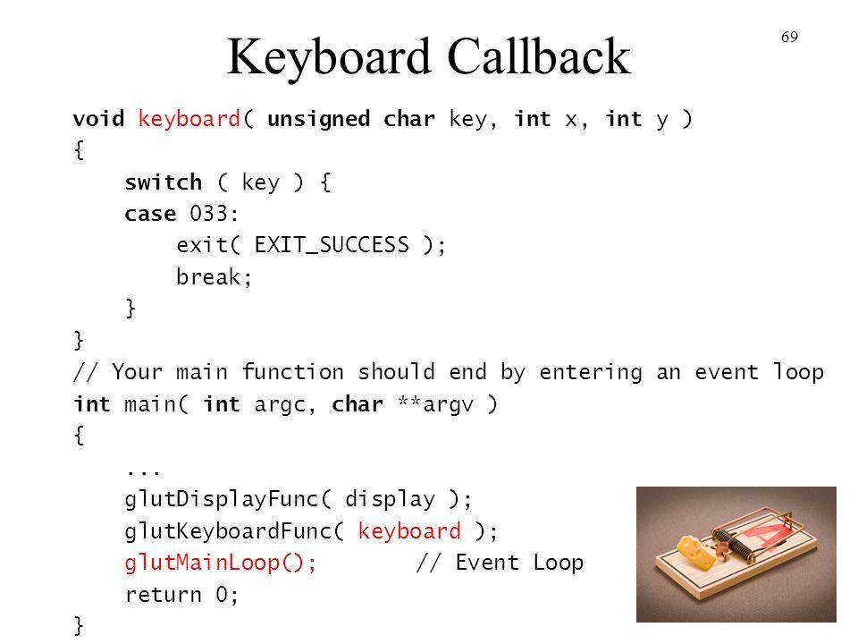 Keyboard Callback void keyboard( unsigned char key, int x, int y ) {