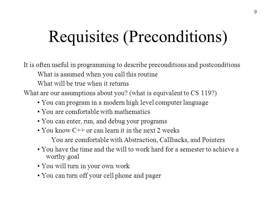 Requisites (Preconditions)
