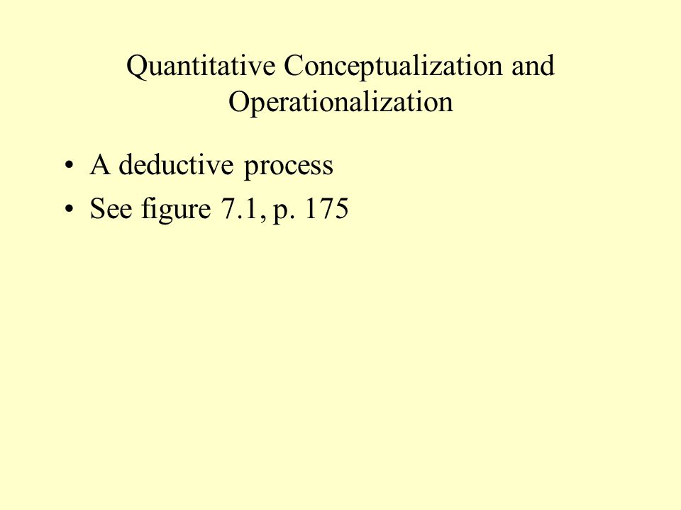 Quantitative Conceptualization and Operationalization