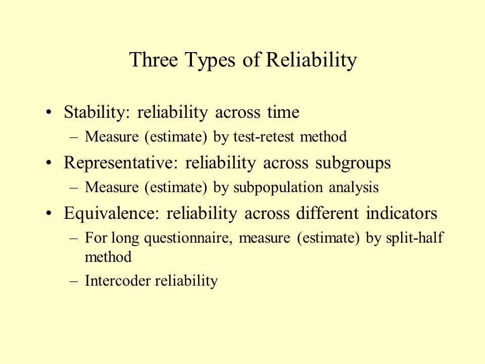 Three Types of Reliability