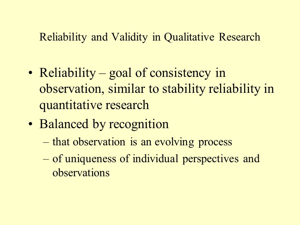 validity and reliability in qualitative research Her research and teaching interests include qualitative methods, language policy and planning, literacy, and bilingual education see additional note first published: september 1992 full publication history doi: 102307/3587190 view/ save citation cited by (crossref): 0 articles check for updates citation tools.