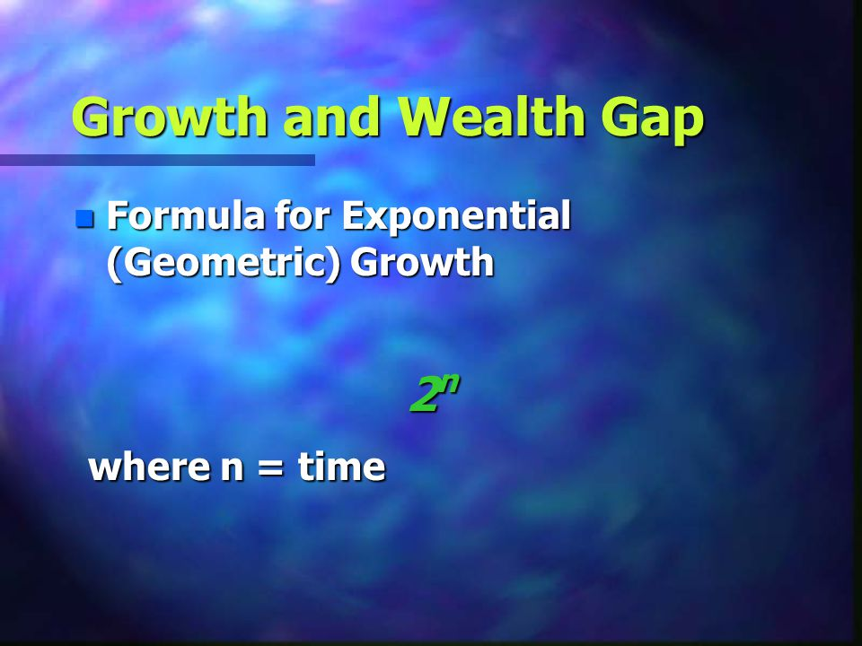 Growth and Wealth Gap 2n where n = time