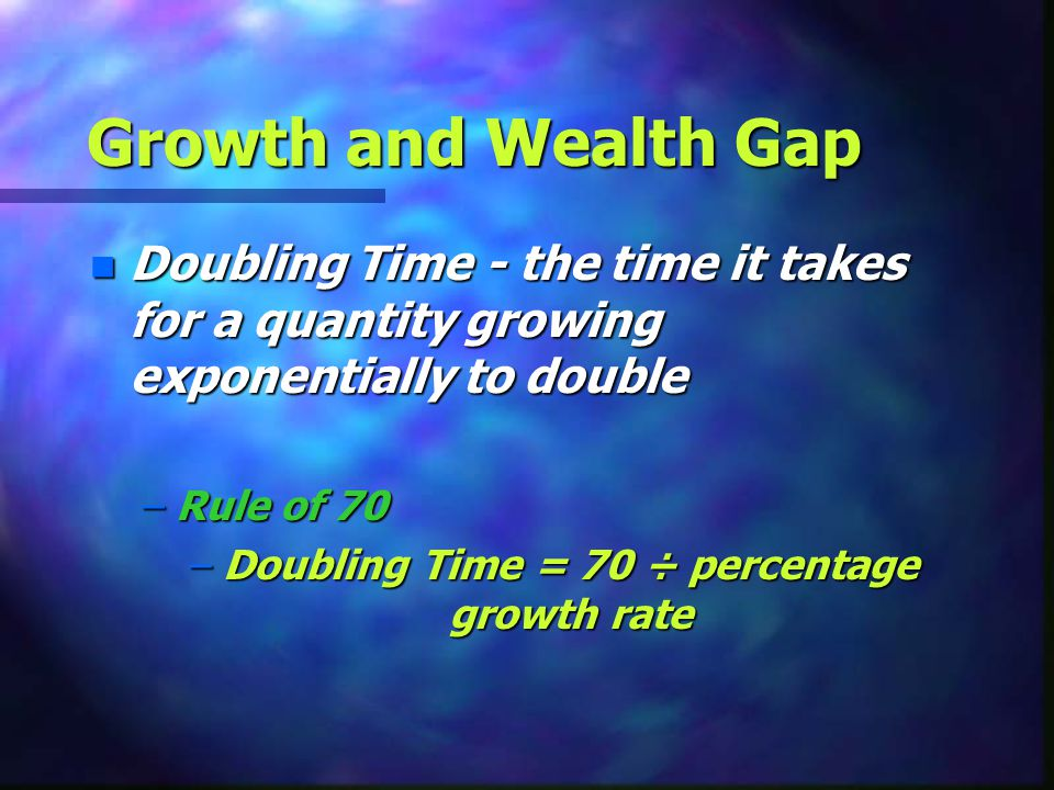 Doubling Time = 70 ÷ percentage growth rate