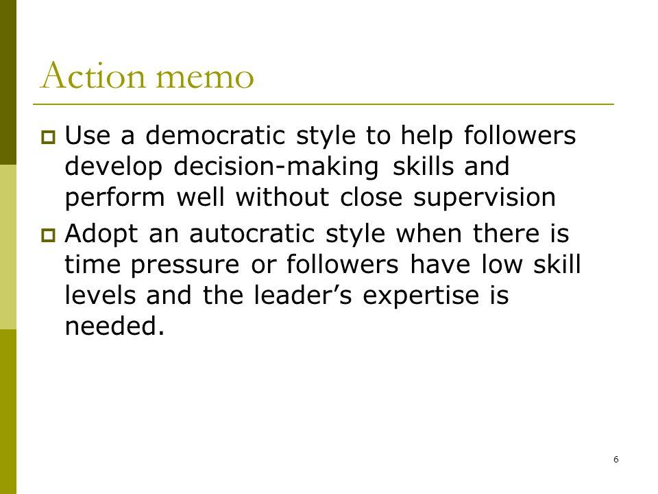 decision making memo Servant leadership, decision making and structure 1 global servant leadership roundtable 21/06/2012 the relationship between servant leadership.