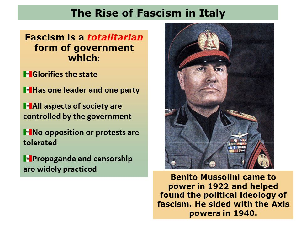 compare mussolini s rise to power and totalitarian state in italy The most promising way to gain an understanding of totalitarianism is to compare those  the rise of totalitarian states  italy, by mussolini's opponents.