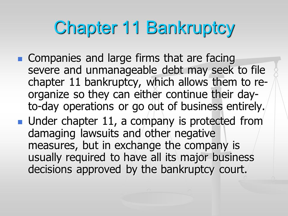 Chapter 11 Bankruptcy Enron: the scan...