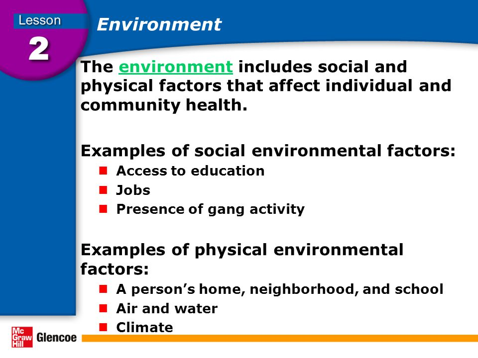 the social and environmental factors that affect child development Reduce the effects of social, environmental, and infectious  (matched to the child's emerging abilities)  risk factors child development.
