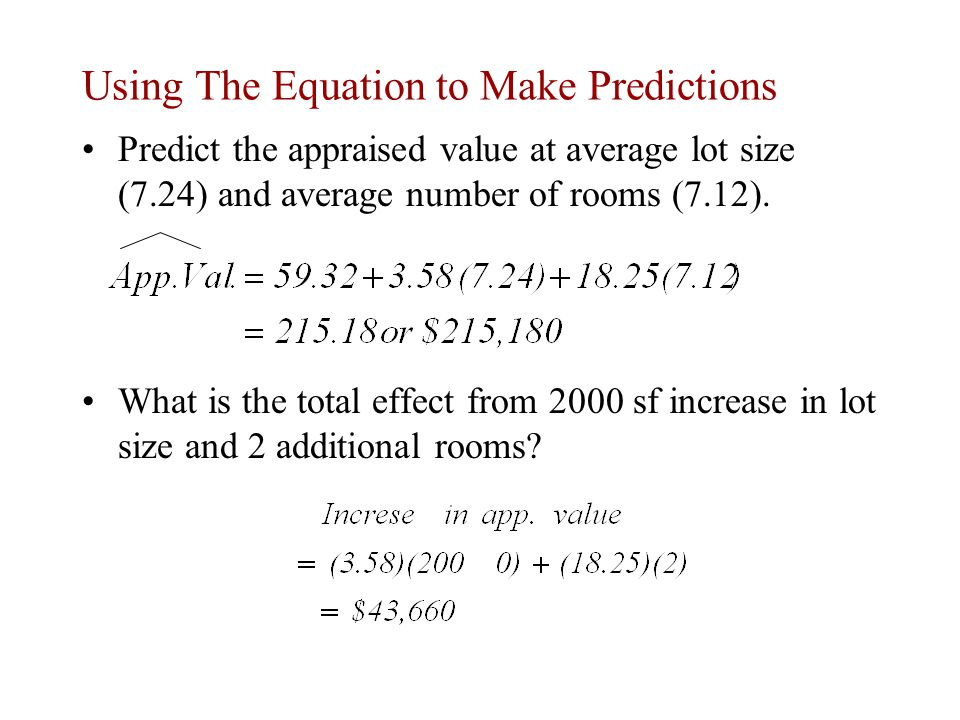 Using The Equation to Make Predictions