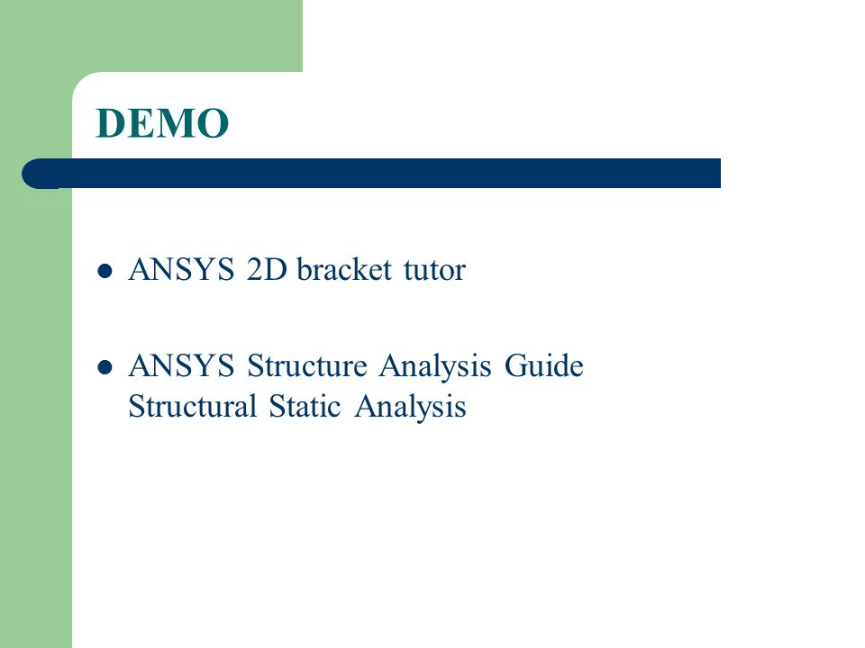 Static structural analysis in ansys workbench pdf