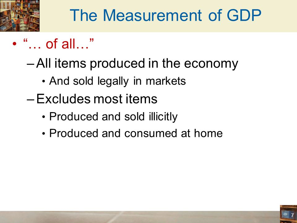 The Measurement of GDP … of all… All items produced in the economy