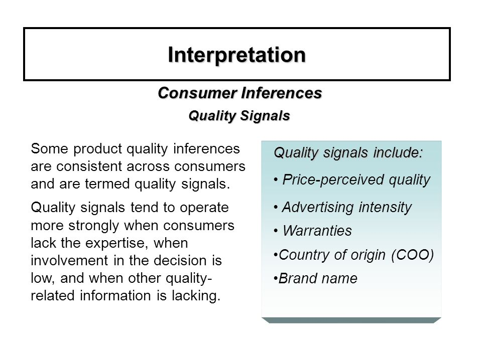 Interpretation Consumer Inferences