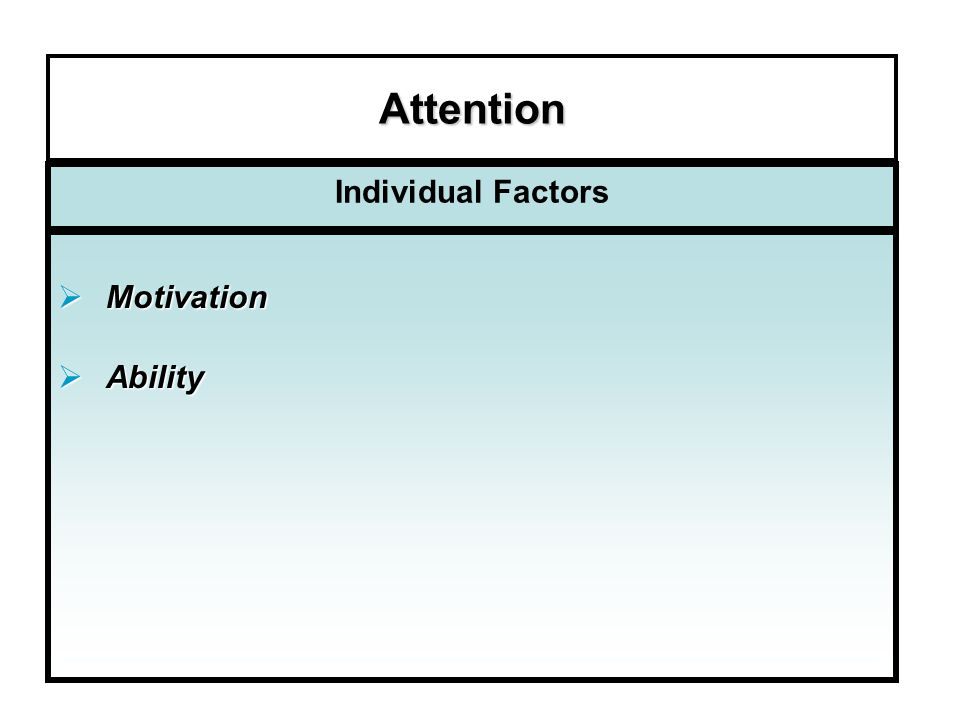 Attention Individual Factors Motivation Ability