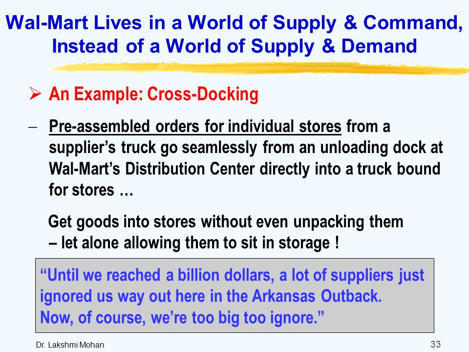 wal mart supply and demand Also key to the cost-effectiveness of walmart's supply that portion of the walmart market segment with more disposable income and more willingness to demand.