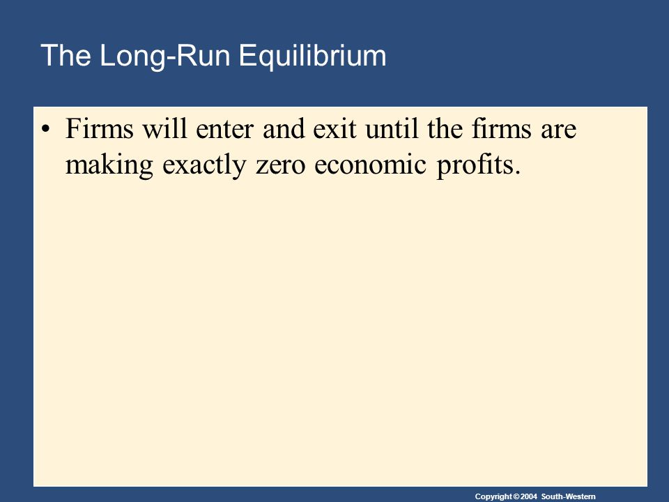 The Long-Run Equilibrium
