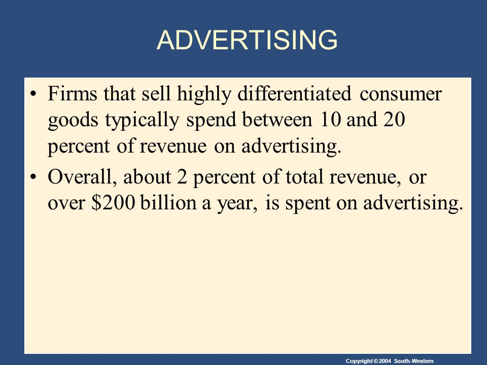 ADVERTISING Firms that sell highly differentiated consumer goods typically spend between 10 and 20 percent of revenue on advertising.