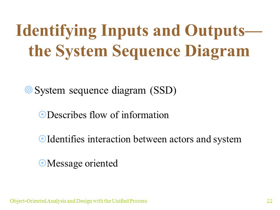 Identifying Inputs and Outputs—the System Sequence Diagram
