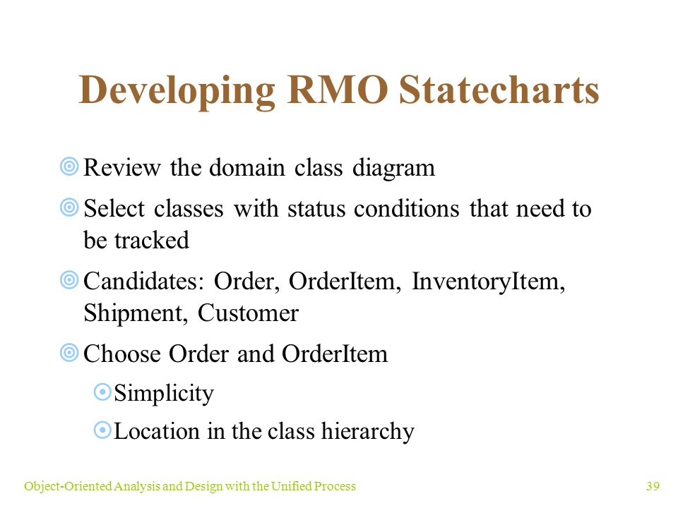 Developing RMO Statecharts