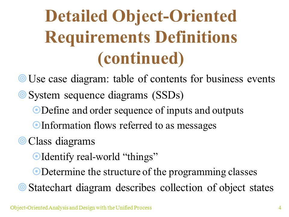 Detailed Object-Oriented Requirements Definitions (continued)