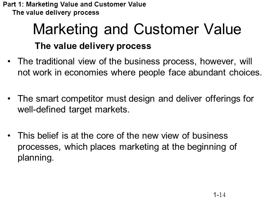 value delivery process in marketing The marketing management process is  with the customer to deliver value and make money the marketing process itself consists of  for both delivery and.