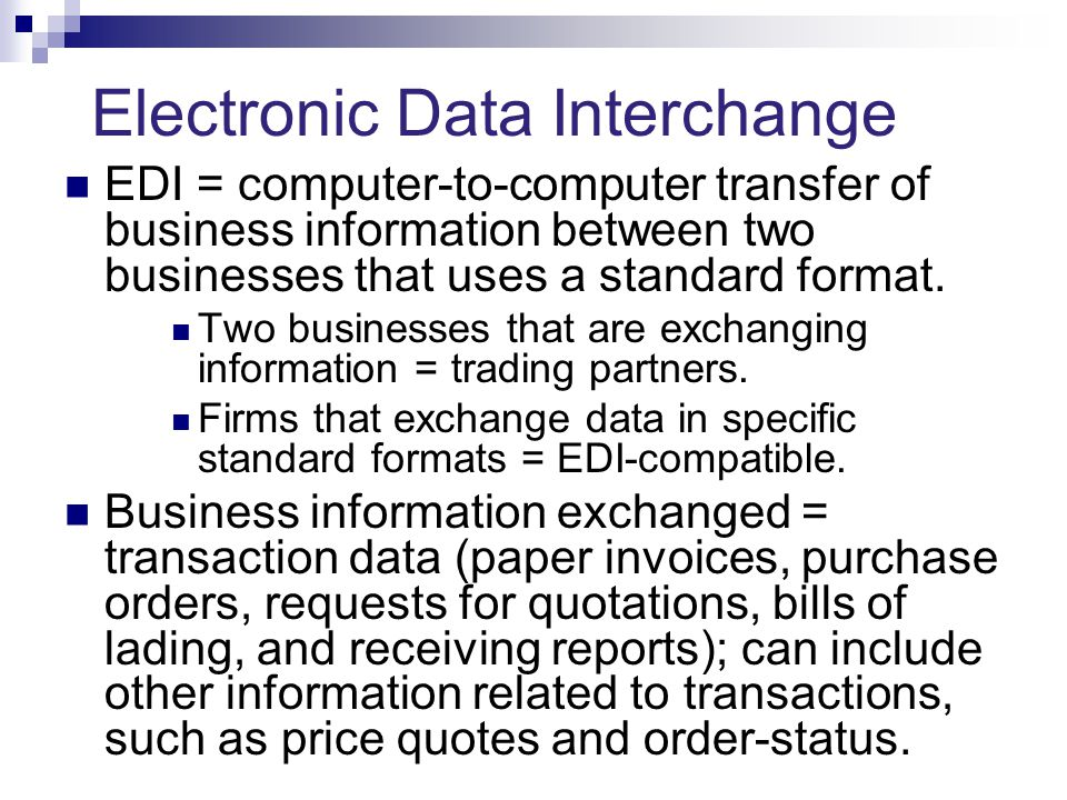 Electronic Data Exchange : Business to strategies from edi electronic