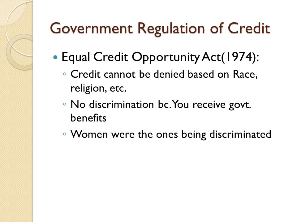 Government Regulation of Credit