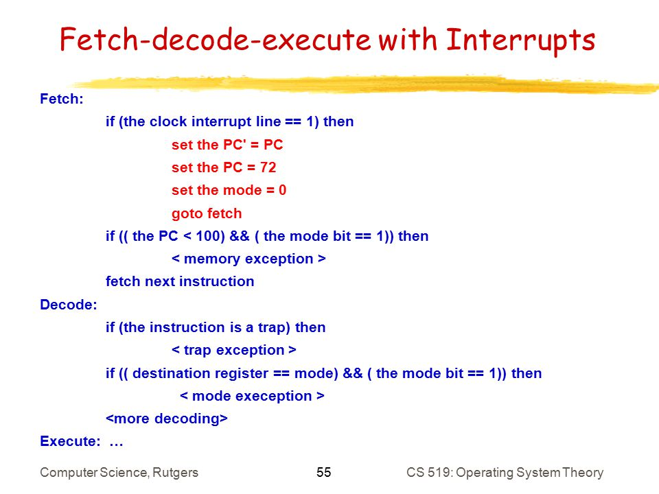 interrupts in operating systems computer science essay In a push button analogy applied to computer systems the operating system interrupt handler will recognize the occurrence on an unimplemented instruction.