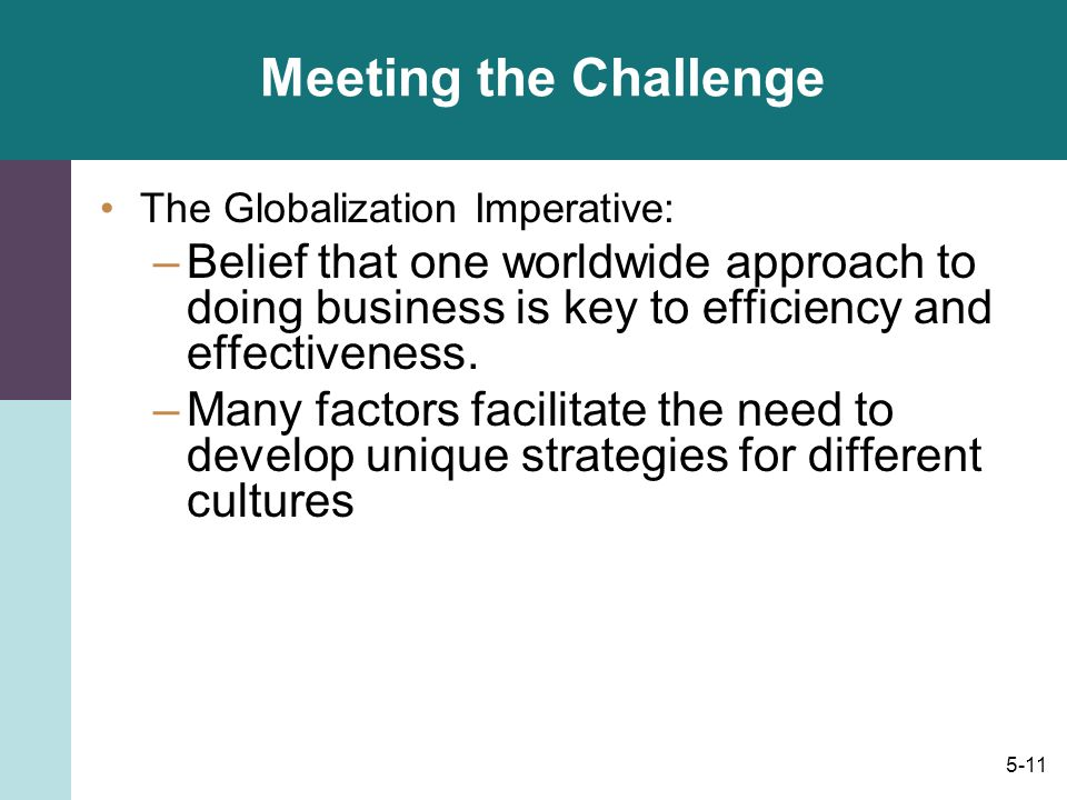 Meeting the Challenge The Globalization Imperative: Belief that one worldwide approach to doing business is key to efficiency and effectiveness.