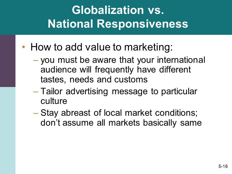 Globalization vs. National Responsiveness