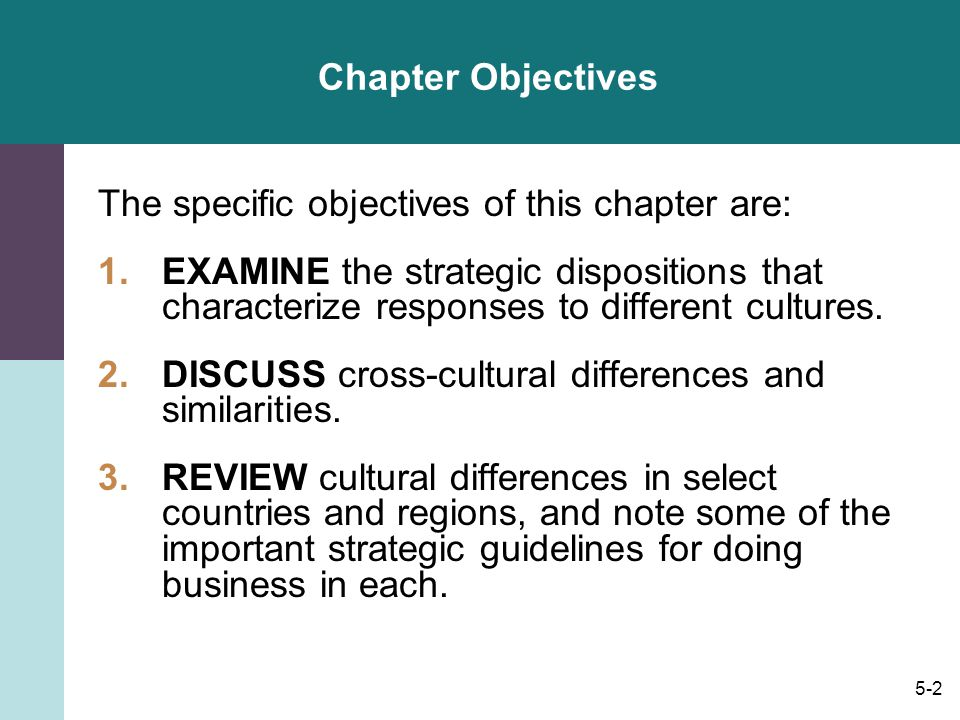 Chapter Objectives The specific objectives of this chapter are: