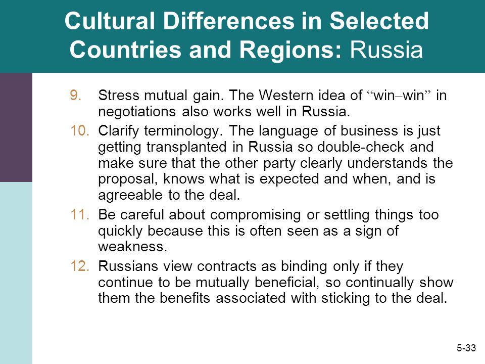 Cultural Differences in Selected Countries and Regions: Russia