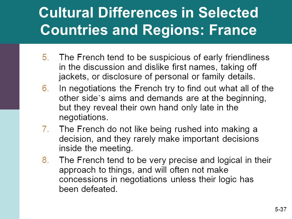 Cultural Differences in Selected Countries and Regions: France