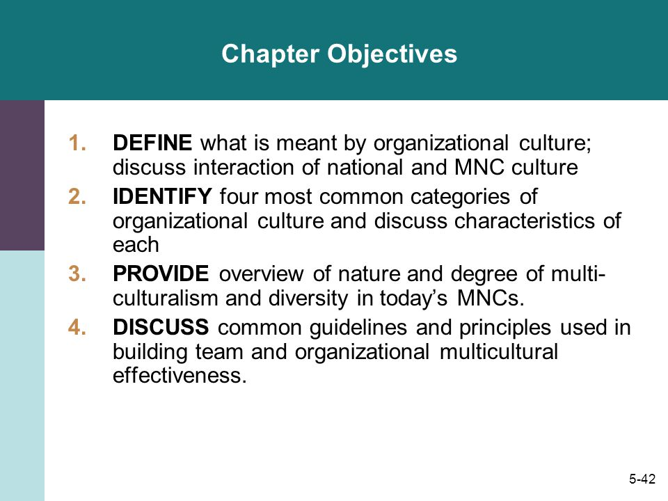 Chapter Objectives DEFINE what is meant by organizational culture; discuss interaction of national and MNC culture.
